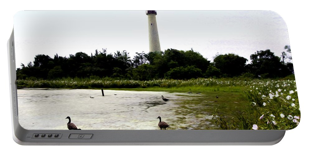 Behind The Cape May Lighthouse Portable Battery Charger featuring the photograph Behind The Cape May Lighthouse by Bill Cannon