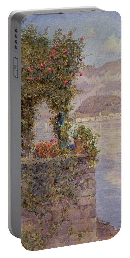 Lake Portable Battery Charger featuring the painting Bellagio From Tremezzo by Ernest Arthur Rowe