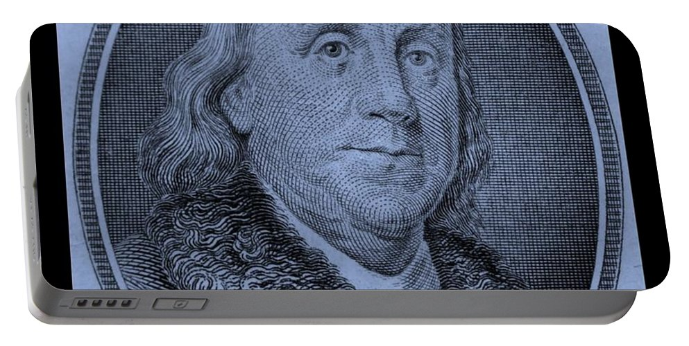 Ben Franklin Portable Battery Charger featuring the photograph Ben Franklin In Cyan by Rob Hans