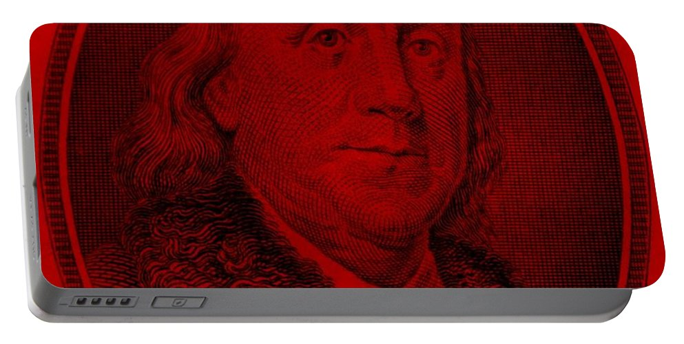Ben Franklin Portable Battery Charger featuring the photograph Ben Franklin In Red by Rob Hans