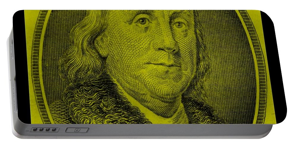 Ben Franklin Portable Battery Charger featuring the photograph Ben Franklin In Yellow by Rob Hans