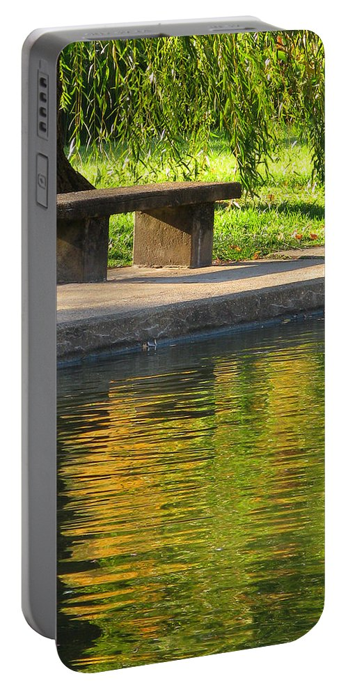 Bench Portable Battery Charger featuring the photograph Bench And Reflections In Tower Grove Park by Greg Matchick