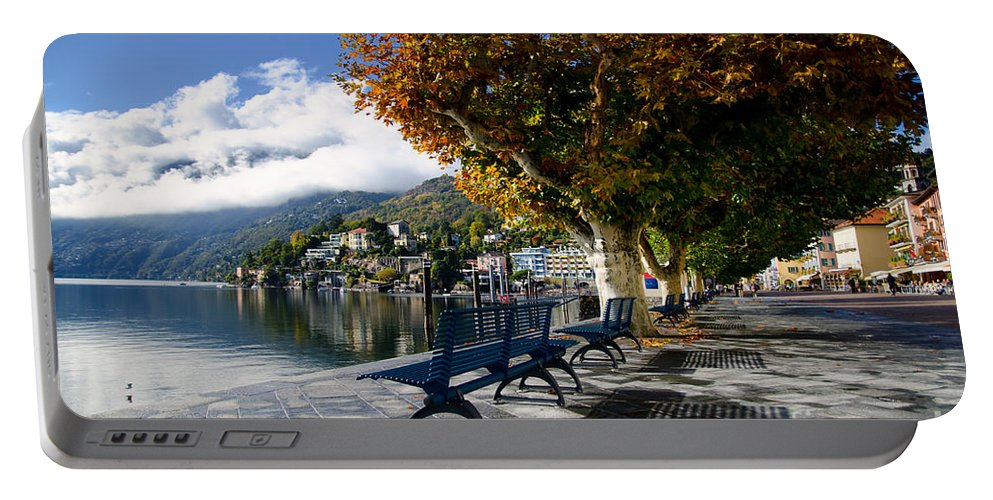 Bench Portable Battery Charger featuring the photograph Benches With Shadow by Mats Silvan