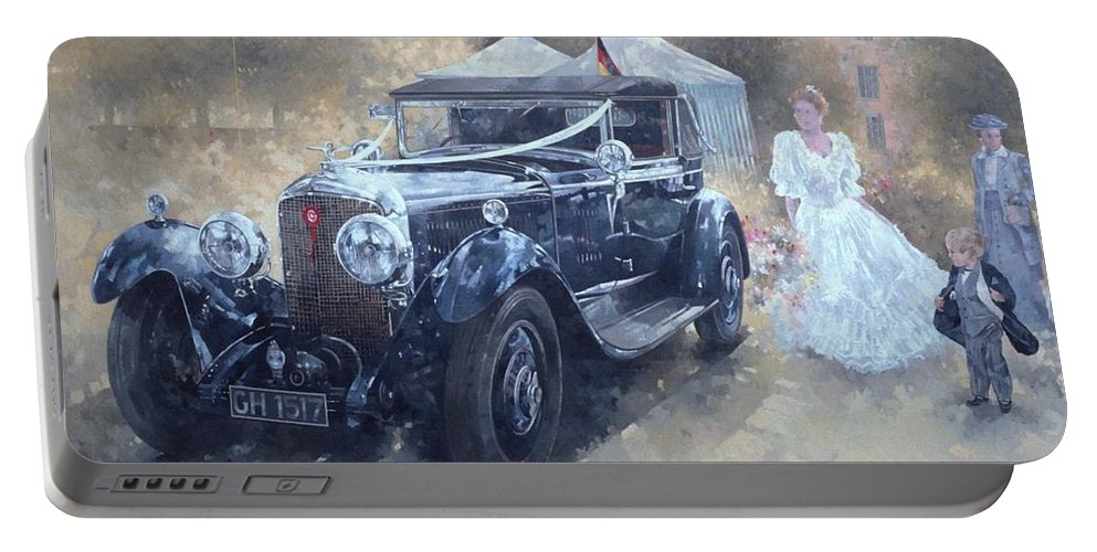Female; Car; Wedding; Marriage; Dress; Wife; Married; Transport; Automobile; Vintage; Old Timer; Bentley Portable Battery Charger featuring the painting Bentley And Bride by Peter Miller
