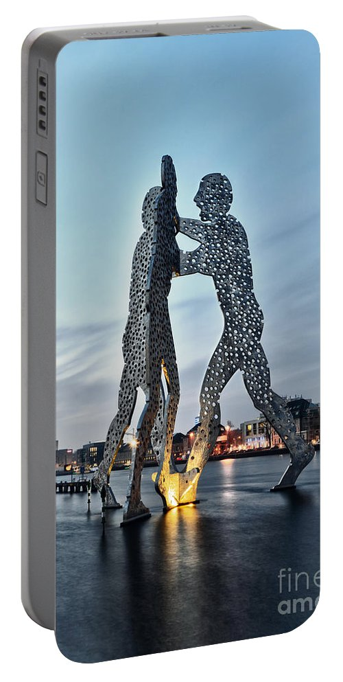 Berlin Portable Battery Charger featuring the photograph Berlin - Molecule Man by ARTSHOT - Photographic Art