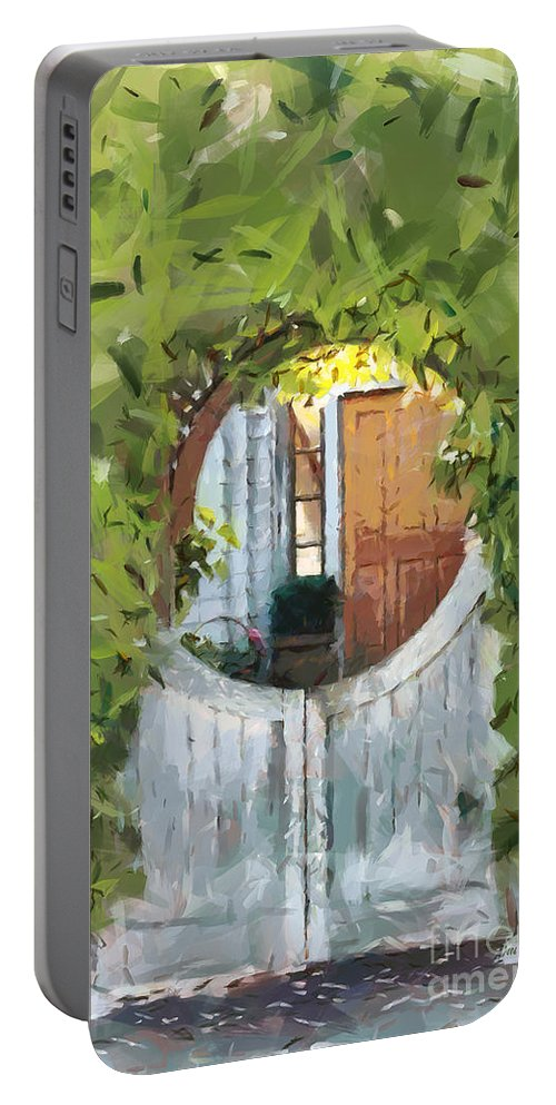 Gate Portable Battery Charger featuring the painting Beyond The Gate - A Scene From Mackinac Island Michigan by Anne Kitzman