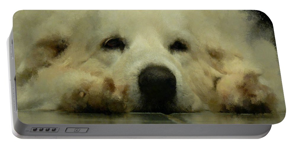 Dog Portable Battery Charger featuring the digital art Bianca by Ericamaxine Price