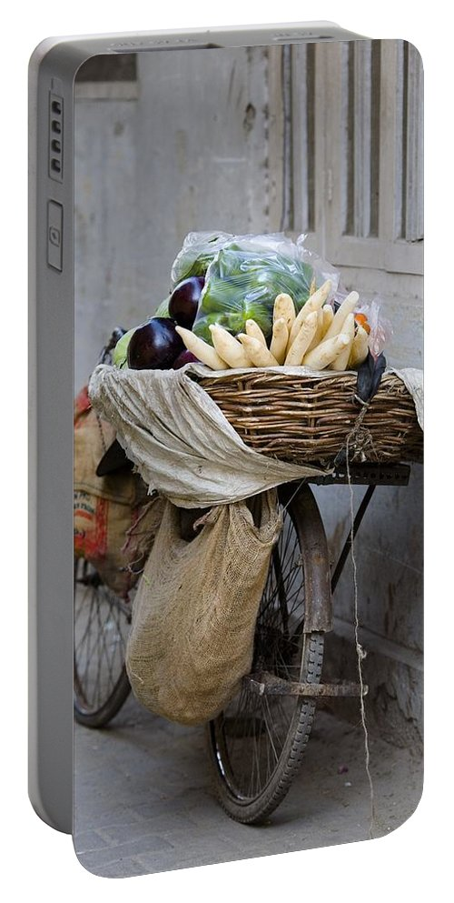 Activity Portable Battery Charger featuring the photograph Bicycle Loaded With Food, Delhi, India by David DuChemin