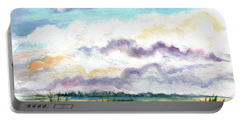 Wetlands Portable Battery Charger featuring the painting Big Clouds by Clara Sue Beym