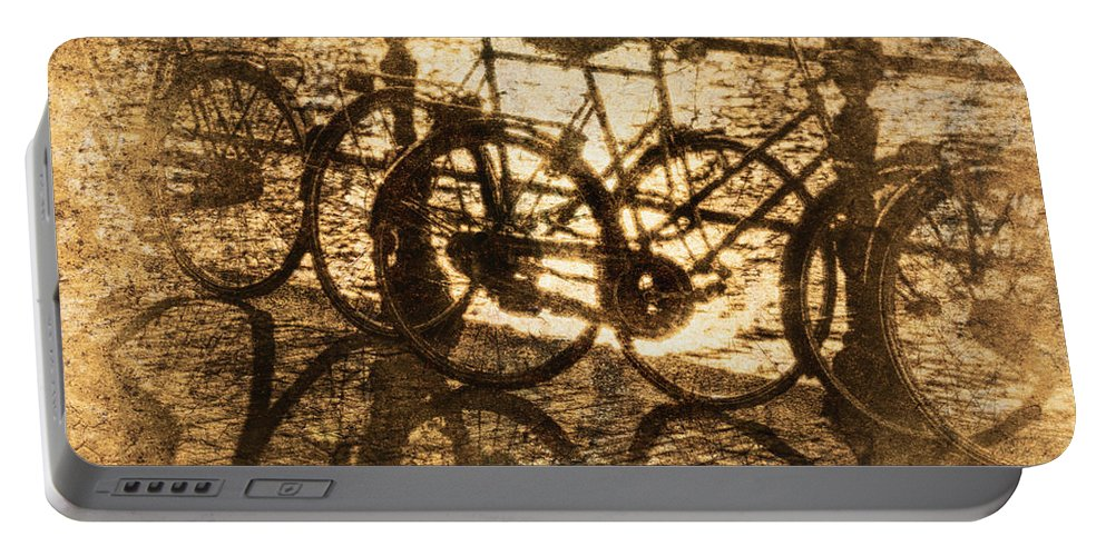 Bicycles Portable Battery Charger featuring the photograph Bikes On The Canal by Skip Nall