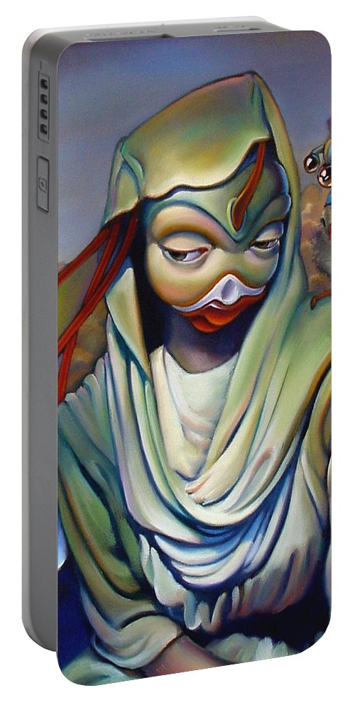 Chicken Portable Battery Charger featuring the painting Binky's Mistress by Patrick Anthony Pierson