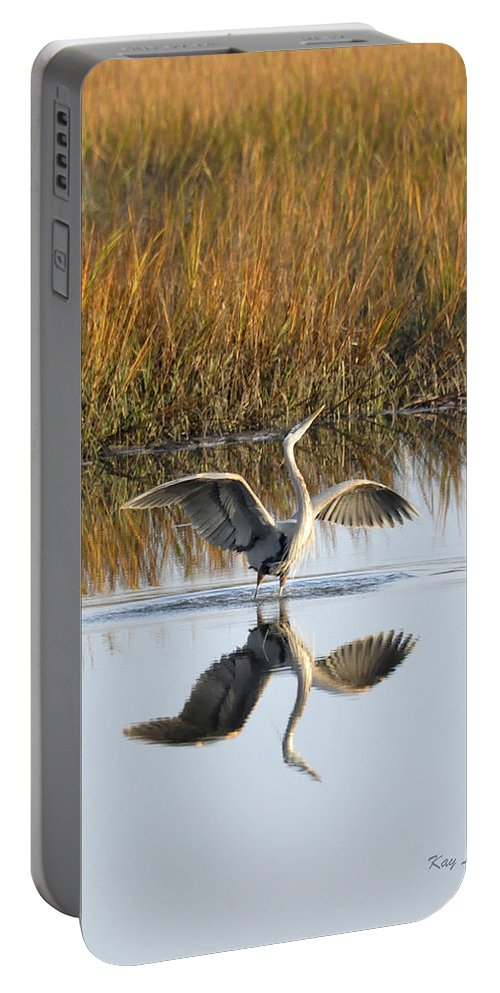 Great Blue Heron Portable Battery Charger featuring the photograph Bird Dance by Kay Lovingood