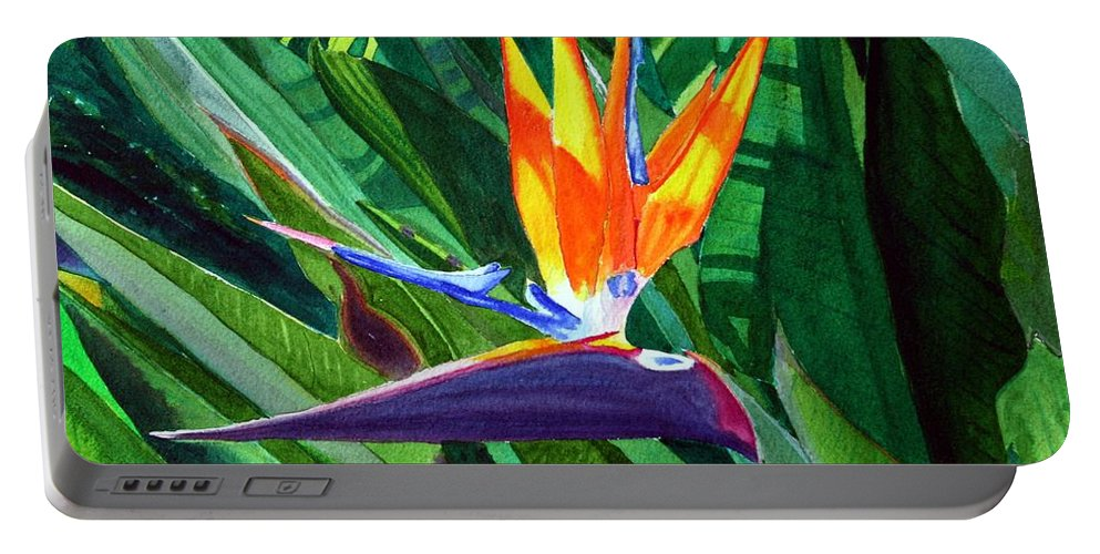 Flower Portable Battery Charger featuring the painting Bird-of-paradise by Mike Robles