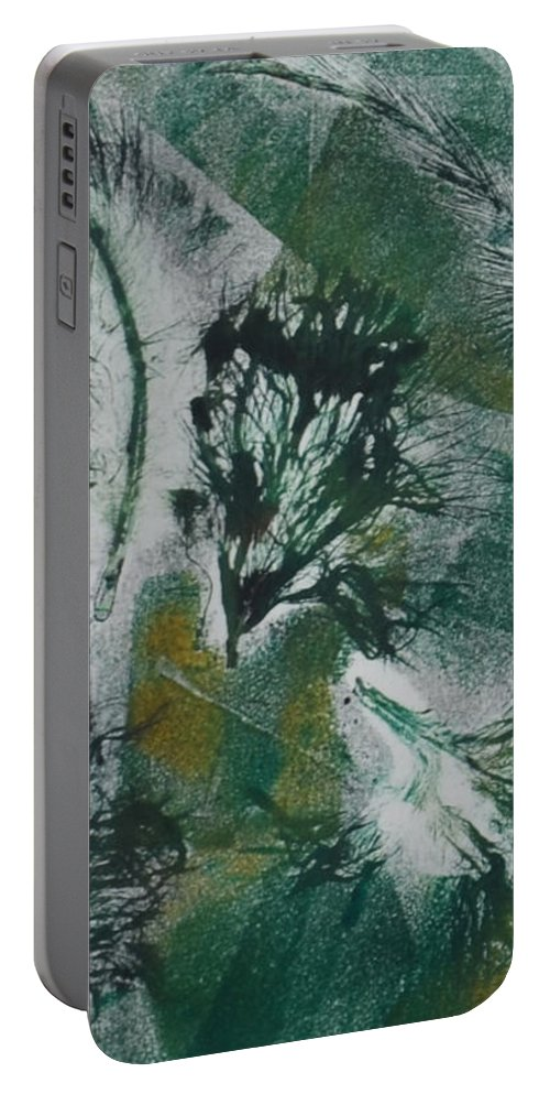 Abstract Portable Battery Charger featuring the mixed media Birds Of A Feather by Cori Solomon
