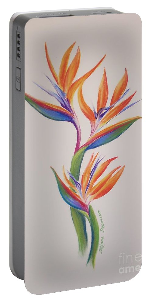 Drawing Portable Battery Charger featuring the painting Birds Of Paradise I by Tatjana Popovska
