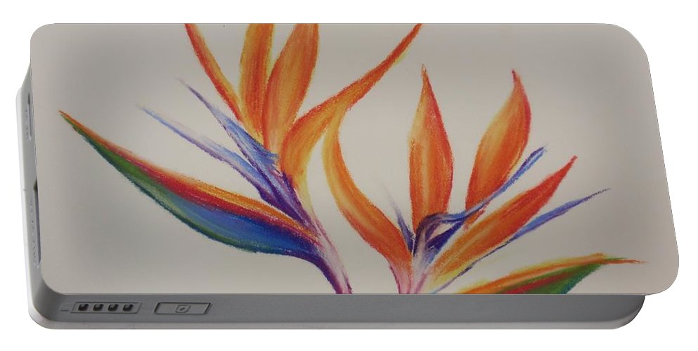 Drawing Portable Battery Charger featuring the painting Birds Of Paradise II by Tatjana Popovska