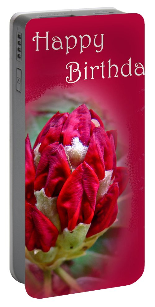 Birthday Portable Battery Charger featuring the photograph Birthday Card - Red Azalea Buds by Mother Nature