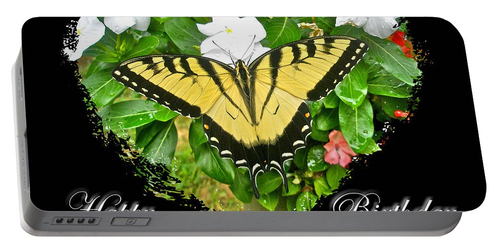Birthday Portable Battery Charger featuring the photograph Birthday Greeting Card - Tiger Swallowtail Butterfly by Mother Nature