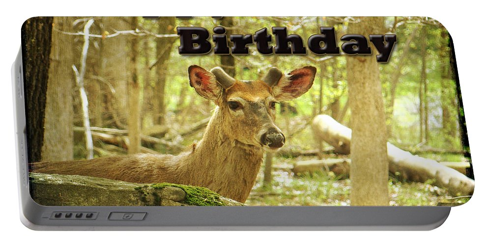 Birthday Portable Battery Charger featuring the photograph Birthday Greeting Card - Whitetail Deer Buck In Velvet by Mother Nature