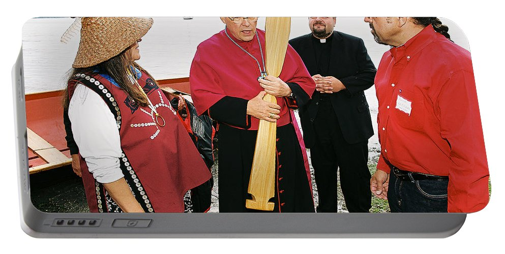 Archbishop Brunett Portable Battery Charger featuring the photograph Bishop Arrives Two by Mike Penney