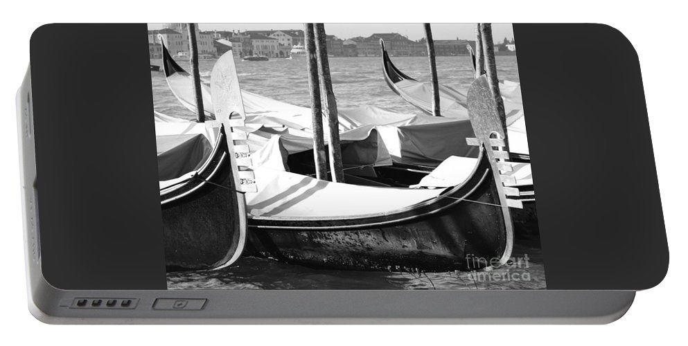 Gondola Art Portable Battery Charger featuring the photograph Black And White Gondolas Venice Italy by Rebecca Margraf