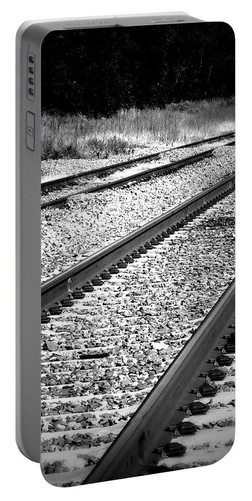 Railroad Portable Battery Charger featuring the photograph Black And White Railroad Tracks by Kimberly Perry