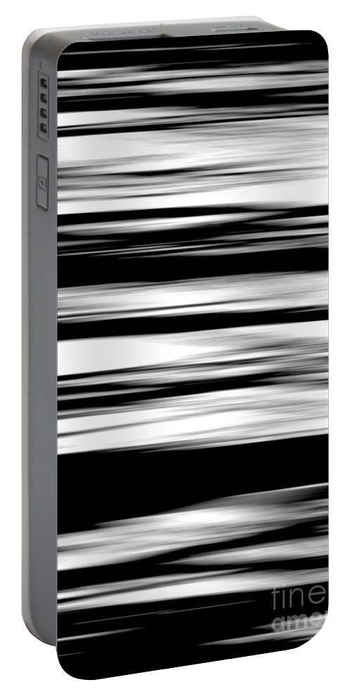 Black Portable Battery Charger featuring the photograph Black And White Striped Wave Pattern by Simon Bratt Photography LRPS