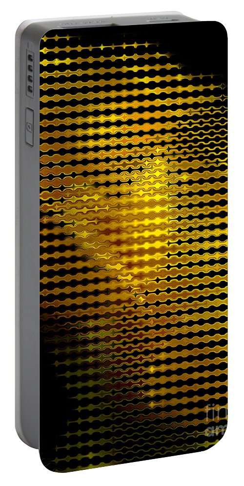 Abstract Portable Battery Charger featuring the digital art Black And Yellow Abstract I by Debbie Portwood