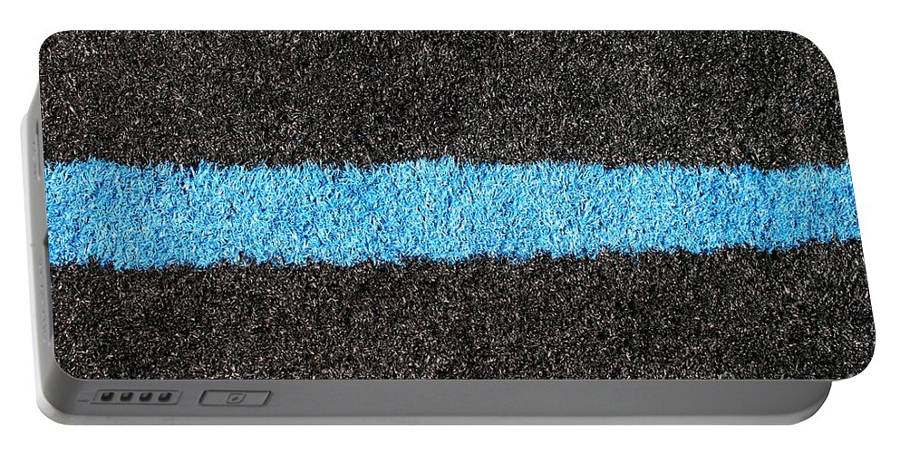 Black Portable Battery Charger featuring the photograph Black Blue Lawn by Henrik Lehnerer