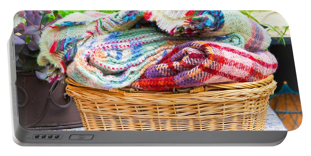 Basket Portable Battery Charger featuring the photograph Blankets by Tom Gowanlock