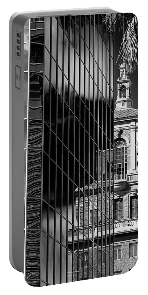 Building Portable Battery Charger featuring the photograph Blending Architecture Black And White by Phyllis Denton