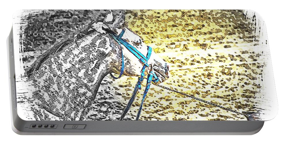 Horse Gray Watching Portable Battery Charger featuring the photograph Blue by Alice Gipson