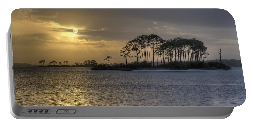 Sunset Portable Battery Charger featuring the photograph Blue And Gold by David Troxel