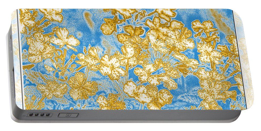 Abstract Portable Battery Charger featuring the digital art Blue And Gold Floral Abstract by Debbie Portwood