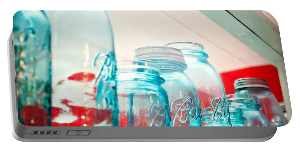 Interior Design Portable Battery Charger featuring the photograph Blue Ball Canning Jars by Paulette B Wright