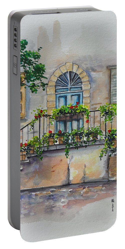 Old Portable Battery Charger featuring the painting Blue Door by Shirley Heyn