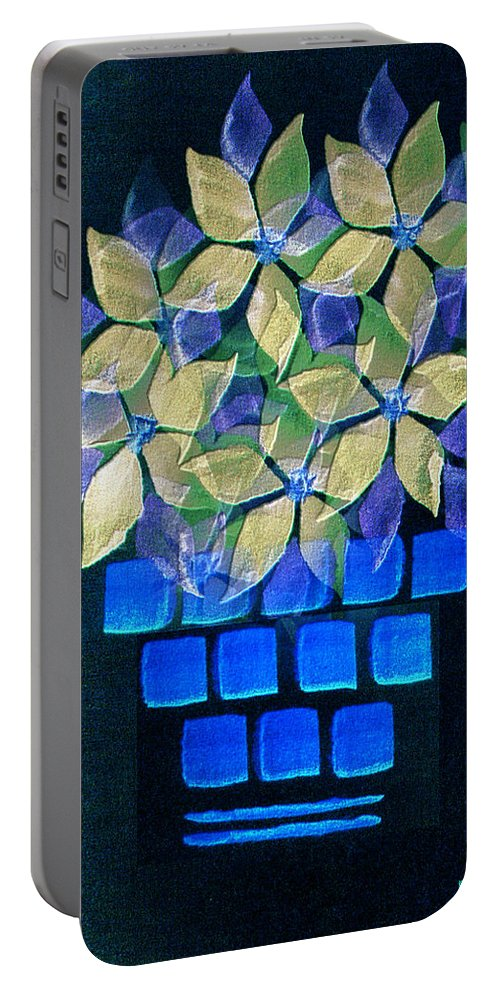 Paula Ayers Portable Battery Charger featuring the mixed media Blue Flower Pot by Paula Ayers