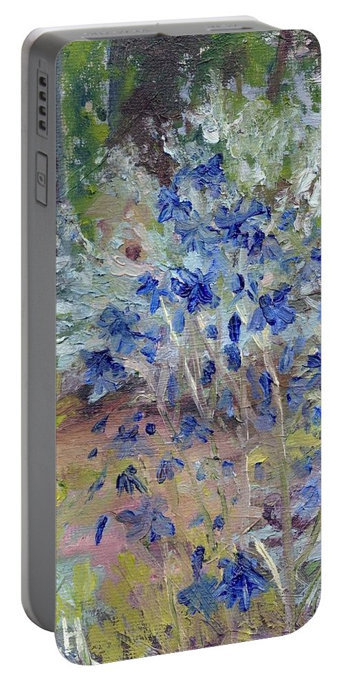 Blue Portable Battery Charger featuring the painting Blue Flowers by Susan Hanna