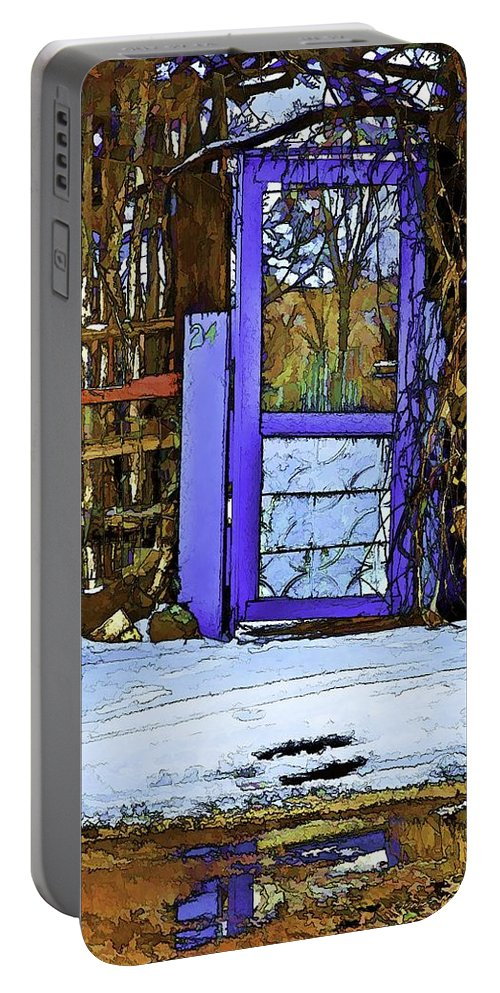 Blue Portable Battery Charger featuring the digital art Blue Gate #24 by Charles Muhle