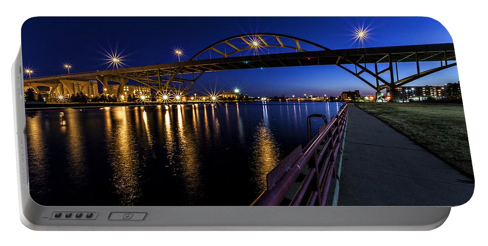 Cj Schmit Portable Battery Charger featuring the photograph Blue Hour Hoan by CJ Schmit