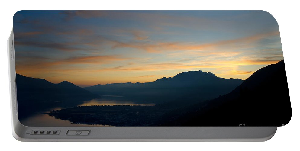 Sunset Portable Battery Charger featuring the photograph Blue Hour Over The Mountain by Mats Silvan