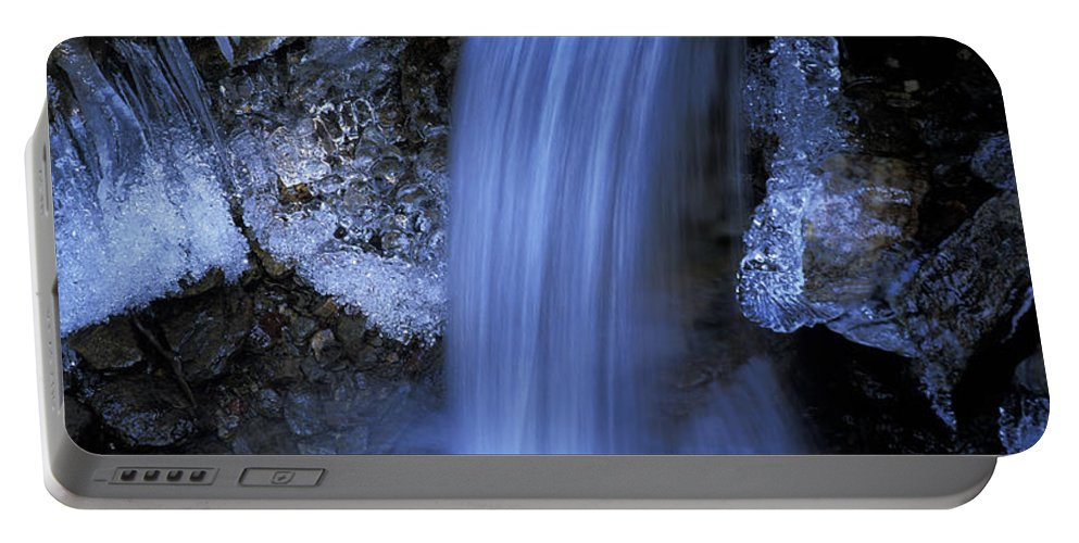 Waterfall Portable Battery Charger featuring the photograph Blue Icy Waterfall by Ulrich Kunst And Bettina Scheidulin