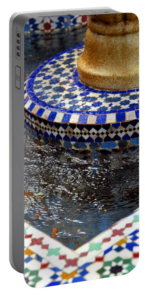 Photo Portable Battery Charger featuring the photograph Blue Mosaic Fountain II by Bonnie Myszka