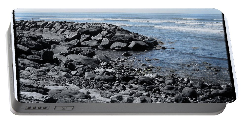 Lava Rocks Portable Battery Charger featuring the photograph Blue Pacific by Linda Dunn