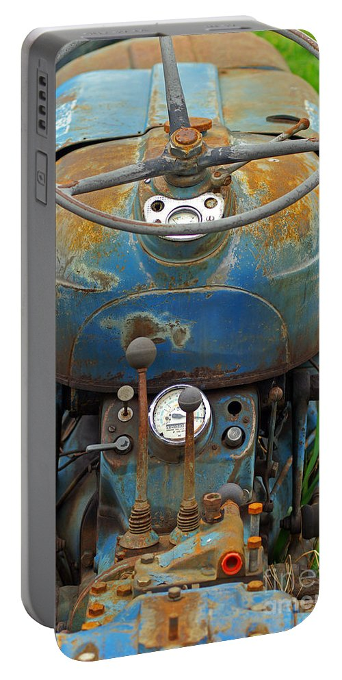 Tractors Portable Battery Charger featuring the photograph Blue Tractors Driver's Seat by Randy Harris