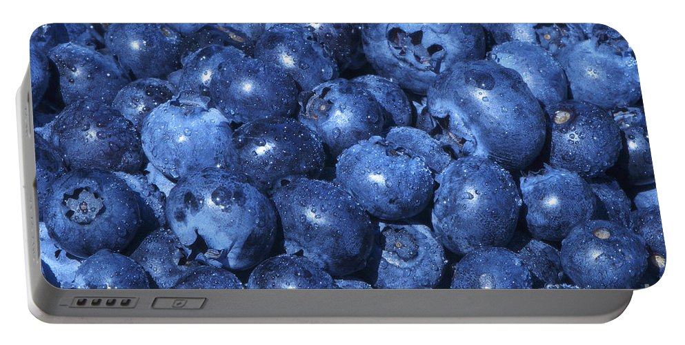 Blueberry Portable Battery Charger featuring the photograph Blueberries With Waterdrops by Sharon Talson