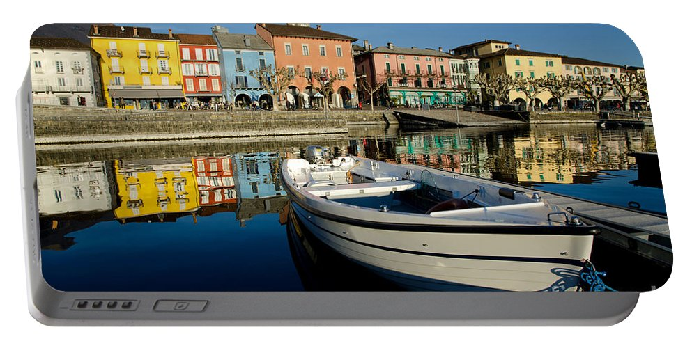 Ascona Portable Battery Charger featuring the photograph Boat And Village by Mats Silvan