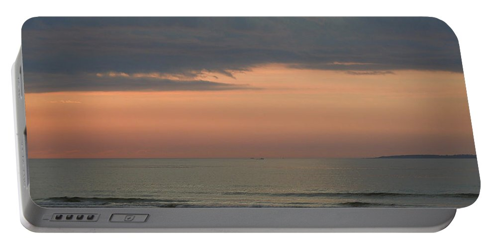 Beach Portable Battery Charger featuring the photograph Boat On Horizon In Maine by Nancy Griswold