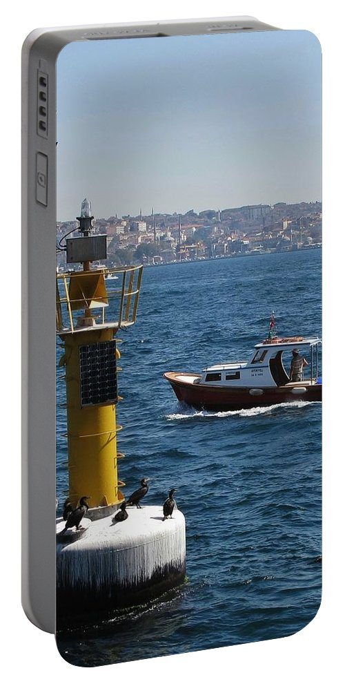 Istanbul Portable Battery Charger featuring the photograph Boat Watchers by Ian MacDonald