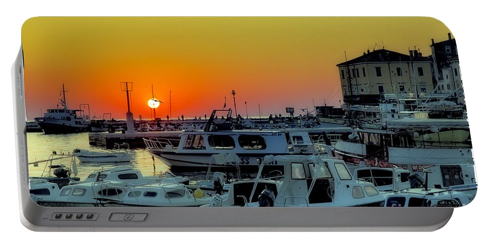 Boats Portable Battery Charger featuring the photograph Boats At Sundown by Madeline Ellis